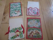 VINTAGE 4 POCKET CHRISTMAS CARDS & VALENTINE TWO ARE WRITTEN ON TWO UNUSED