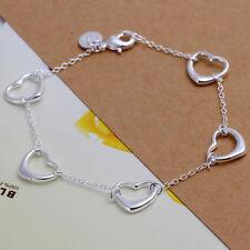 """Unique & Elegant Pure 925 Sterling Silver Heart Shape 7 1/2"""" Bracelet #002"""