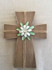 Shabby Chick Wood Free Standing Cross with Metal Flower Decor