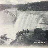 RPPC Niagara Falls,NY Luna Island Early Real Photo Postcard Bridge Waterfall