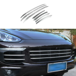 For Porsche Cayenne 2015-2017 Silver Steel Front Grille Grill Ring Cover Trim 7X