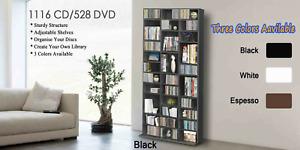Storage Shelf Rack Black White Unit Bookcase Video Games 1116 CD/528 DVD