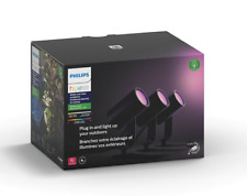 Philips Hue White & Color Outdoor Spot Light Base Kit 3 Spot Lights GREAT CONDIT