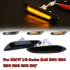 2x Dynamic LED Side Marker Smoked Turn Signal Light Lamp For BMW E90 E91 E92 E46