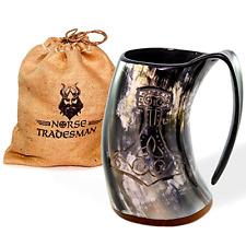 Genuine Viking Drinking Horn Tankard Mjolnir Thor's Hammer Engraving + Gift Sack