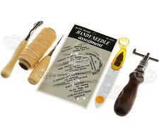 7 x Leather Craft Hand Stitching Sewing Tools Thread Awl Waxed Thimble Kit Set