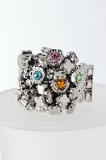 D2 Silver Crystal Cluster Blue Orange Green Pink Yellow Metal Strech Band Ring