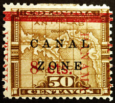 Canal Zone #18 50c 1905-06 MLH with Overprint Shift Errors Full Gum