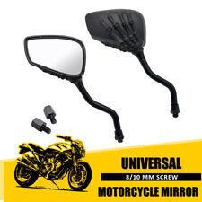 2x UNIVERSAL 8/10MM MOTORRAD SPIEGEL LENKERSPIEGEL CHROM ATV ROLLER QUAD SCHWARZ