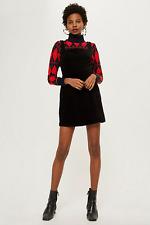 New Topshop Womens Corduroy Open Back Pinafore Mini Dress Size 8 Free Gift