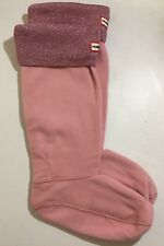 Large L 8-10F HUNTER Sparkle Cuff Fleece Welly Tall Rain Boot Liner Socks Pink