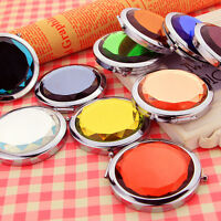 Mini Stainless Travel Compact Pocket Crystal Folding Makeup Mirror Cosmetic TE