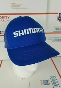 Vintage Shimano Mesh Trucker Hat Snapback Blue Ball Cap Fishing Reel Gear Logo
