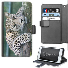 Cat Leopard Phone Case, Leather Side Flip Wallet Phone Cover For Apple/Samsung