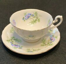 VINTAGE SHELLEY CUP & SAUCER - DAINTY - BLUE FLOWERS & GOLD TRIM! UNUSED & EXC!!