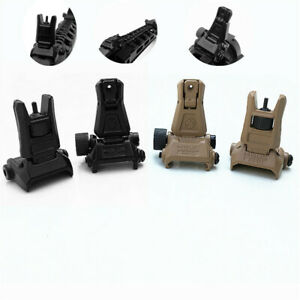 2Pcs Low Profile Flip up Metal Tactical Sight Folding Iron Sights Front and Rear