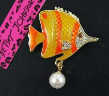 Cute Pins Natural Shell Stripe yellow Fish Clownfish Brooch Pins Betsey Johnson