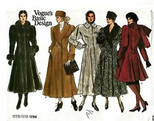 1986 Vogue 1764 Basic Design Coat Size 8 Sewing Pattern Uncut New OOP Rare