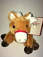 """Dan Dee Red Shed Brown And White  Horse NEW  7"""" Plush Stuffed Animal"""