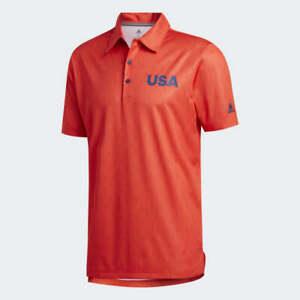 NWT Adidas USA Golf Polo Shirt Men's Small Med Large XL XXL FJ7885 Red Dark Blue