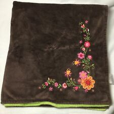 Koala Baby Brown Green Flowers Velour Baby Blanket Floral Orange Pink