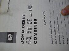 John Deere service manual for 45,55,95,105 Combines