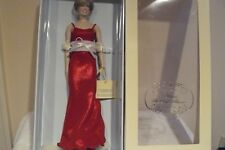 Franklin Mint Princess Diana Vinyl Doll In Red Lame Gown RARE With COA