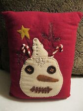 Primitive Wool Applique Snowman Christmas Pillow
