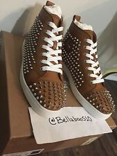Christian Louboutin Louis Flat Calf Spikes in Tan Leather size 43