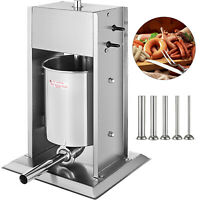 15L Vertical Sausage Stuffer Stainless Steel Meat Filler Salami Maker 5 Funnels