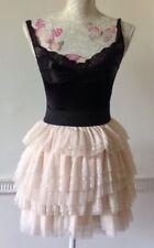 LIPSY Ra Ra Ivory Spotted Net Fully Lined Mini Skirt Elasticated Waist Size 6