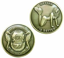 Wetter is Better Diver SCUBA Hard Hat Challenge Coin Special Forces Navy SEAL