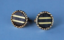 VINTAGE ROUND WOOD & BRASS INLAY CUFFLINK CUFF LINKS LINK GOLD METAL 23mm