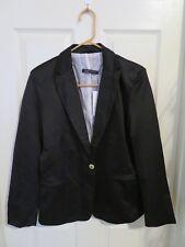 New Zara Woman Single Button Blazer Solid Black Lined Suit Jacket Size Large