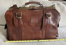VALENTINA Authentic Brown Leather Doctor Bag Carry On Travel - Made In Italy
