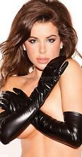 Black Sexy Women Shiny Faux Leather Long Gloves Party Dance Clubwear Costumes