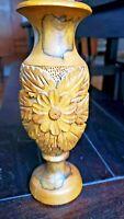 Vintage Hand Carved Wooden Flower Vase