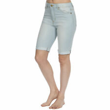 Causeway Bay Ladies Knee Length Stretch Denim Shorts Bleachwash 20