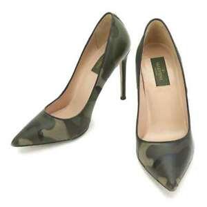 VALENTINO GARAVANI Camouflage Pumps Leather Canvas Khaki HWS00483 38 90083634