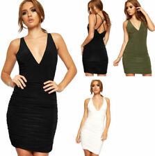 Spaghetti Strap Stretch Solid Dresses for Women