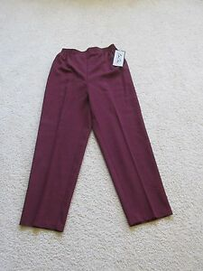 New Women's Bend Over Polyester Pants Elastic Waist Maroon Red Size 14 Short