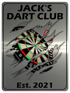 728 Personalised DART CLUB Name Man Cave Metal Aluminium Sign Door Plaque Pub