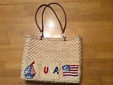 STRAW Red & Blue Beaded Sequin USA Flag Boat Lined Handbag BAG Leather Straps
