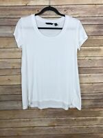 H By Halston Womens XS Scoop Neck Basic White Tee Shirt Stretch Knit Top Solid