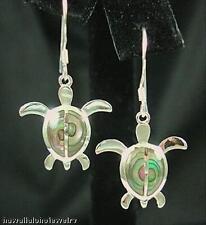 Sterling Silver Hawaiian Petroglyph Honu Turtle Abalone Dangling Hook Earrings