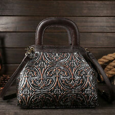 Women Genuine Leather Embossed Tote Handbag Hobo Vintage Messenger Shoulder Bag