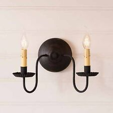 Irvins Tinware Ashford Country Two Arm Wall Sconce in Americana Black over Red