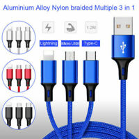 3 in 1 USB Type C Micro Data Sync Fast Charging Cable Charger For iPhone Samsung