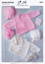baby knitting pattern cardigans, hat bootees premature newborn - 2 years repro