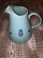 Vintage Cronin Pottery 1950s Blue Tulip Pitcher With Ice Lip MCM